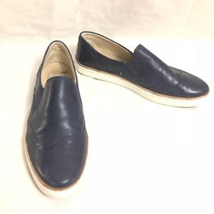 UGG Blue Leather Brogue Slip On Sneakers Size 8.5